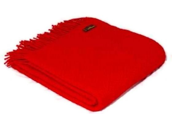 Waffle Red Wool Blanket / Throw